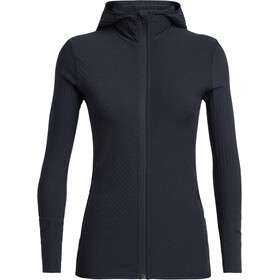 Icebreaker Descender LS Zip Hood Jacket Dame Midnight Navy